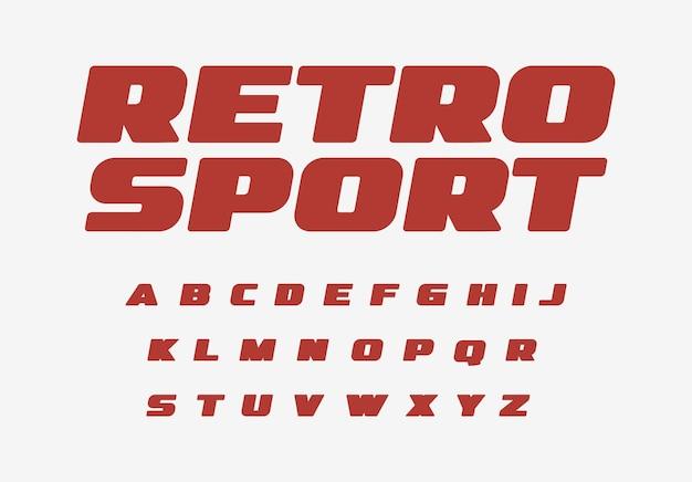 복고풍 스포츠 글꼴 두꺼운 알파벳 뚱뚱한 글자 빈티지 자동차 복고풍 속도 경주를 위한 넓은 굵은 글자 세트
