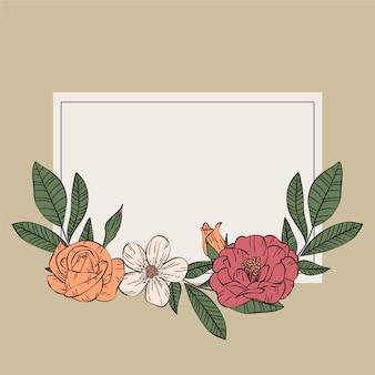 Retro spring floral frame concept