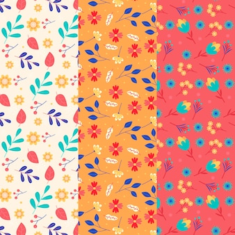 Retro spring flowers and leaves seamless pattern