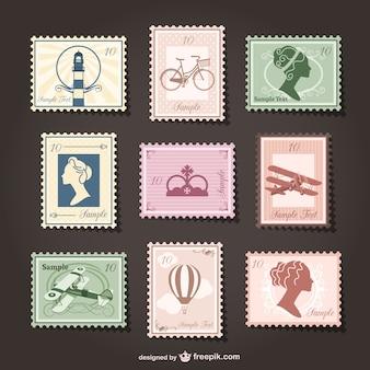Retro stamps collage