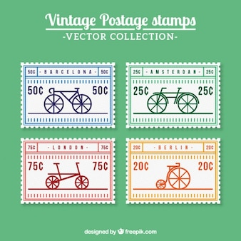 Retro stamps with bikes in flat design