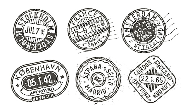 Retro stamps with scabies, cities stamp set on an envelope for vintage passport cover