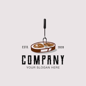 Шаблон иллюстрации дизайна логотипа ретро стейка