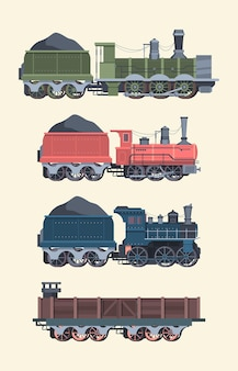 Retro steam locomotives set. old steam powered trains coal trailers classic rail travel with smoke artistic color designs comfortable transportation symbol transport industry.
