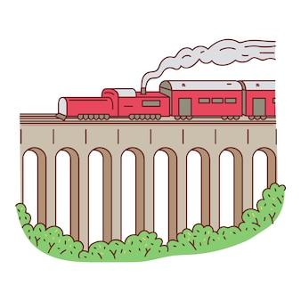 Retro steam red train on bridge sketch cartoon vector illustration isolated.