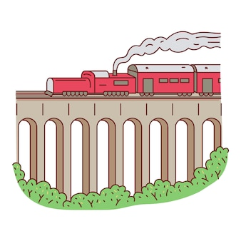 Ретро паровоз красный поезд на мост эскиз мультяшный векторная иллюстрация изолированы.