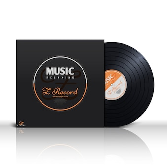 Retro stereo audio black vinyl disc