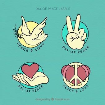 Retro stickers set with symbols of peace