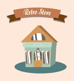 Retro store shopping facade commerce vector illustration