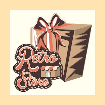 Retro store shopping gift vintage style vector illustration