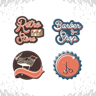 Retro store style set icons vector illustration design