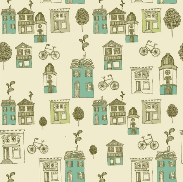 Retro street scene pattern background