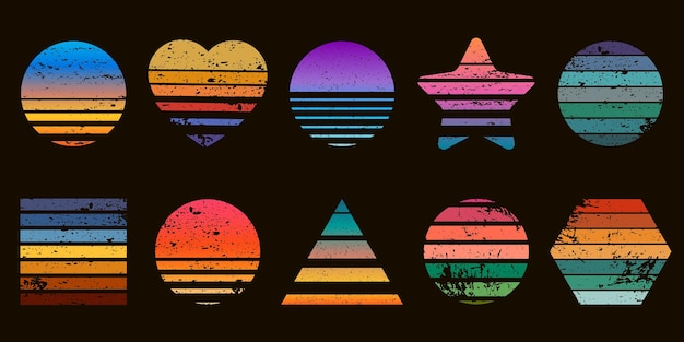 ハート、スター、サークルの形をしたレトロなストライプのサンセットプリント。ビーチの日の出と80年代のtシャツのデザイン。幾何学的な海のサーフィンのロゴのベクトルセット