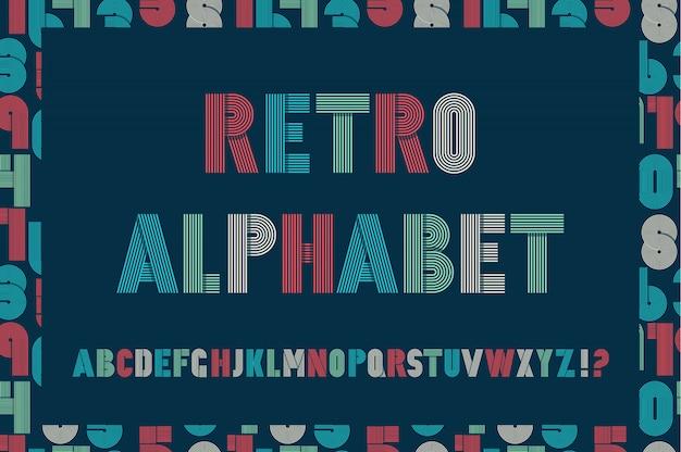 Retro stripes funky fonts on blue.