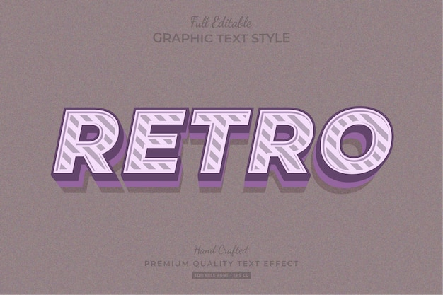 Retro stripped editable text effect font style