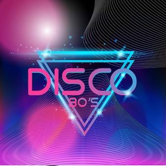 Retro style 80s disco design neon