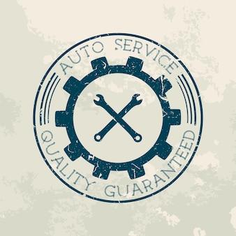 Retro style car repair service label