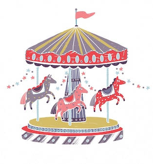 Retro style carousel, roundabout or merry-go-round with adorable horses isolated on white