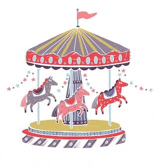 レトロなスタイルのカルーセル、ラウンドアバウト、または白で隔離された愛らしい馬とのメリーゴーランド