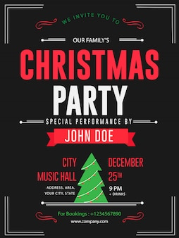 Retro style christmas party banner flyer premium flyer card