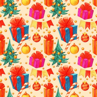 Retro style christmas pattern. winter endless background. colorful illustration can be used for print on paper and fabric. holiday. new year theme. wreath, holly and other traditional symbols.