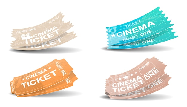 레트로 스타일 영화 티켓입니다. 영화 패스 흰색 배경에 고립입니다. 평면 스타일의 영화 티켓 현실적인 아이콘입니다. 벡터 일러스트 레이 션