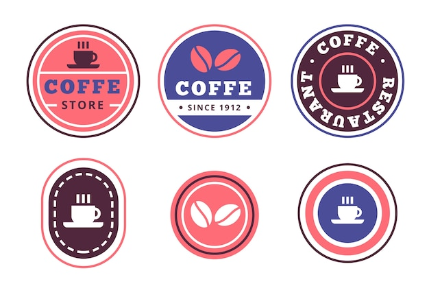 Retro style colorful minimal logo collection
