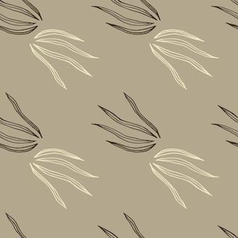 Ретро стиль каракули травы бесшовные модели на светлом фоне. винтажные ботанические обои.