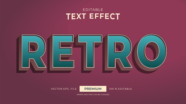 Retro style editable text effects