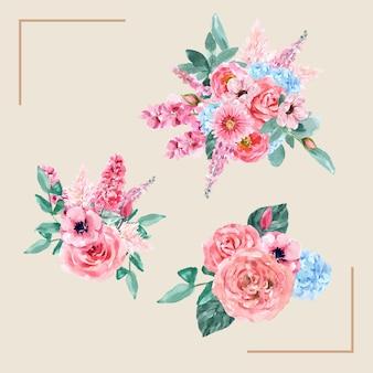 Mazzo affascinante floreale di retro stile con l'illustrazione d'annata del fiore dell'acquerello.