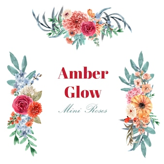 Retro style floral ember glow bouquet watercolor illustration.