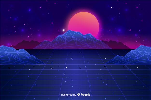 Retro style futuristic landscape background