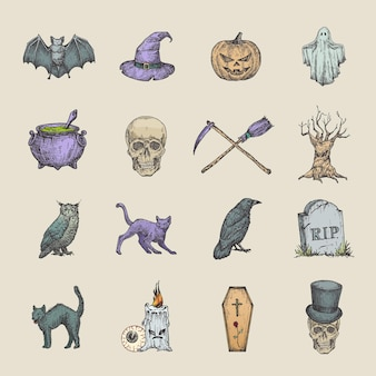 Retro style halloween illustrations collection hand drawn raven scull cat bat witch hat and tombstone sketch