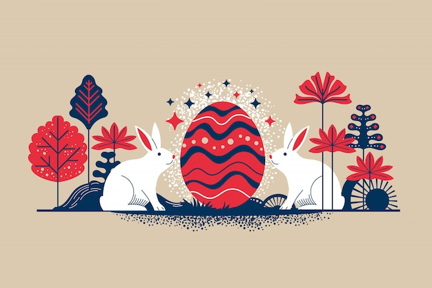 Retro style illustration happy easter greeting card with flowers eggs and rabbit elements