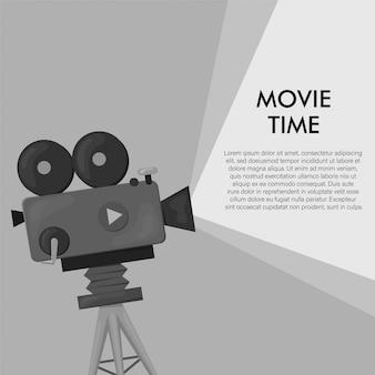 レトロなスタイルの国際映画祭ポスターテンプレート。オレンジ色の背景と黒色。映画祭のポスター。映画館のリールとカメラ。