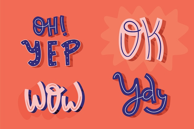 Retro style of lettering expressions and onomatopoeia