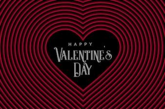 バレンタインデーのためのレトロなスタイルラインハート