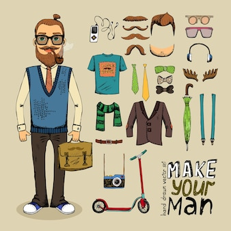Retro style man with hipster elements and clothes set