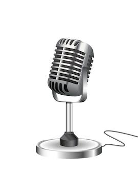 Микрофон в стиле ретро, изолированные на белом фоне