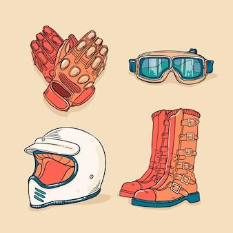 Elementi di motocross in stile retrò