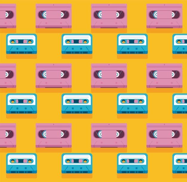 Музыкальная кассета в стиле ретро, синяя и розовая пластинка