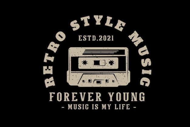 Retro style music typography design with cassette