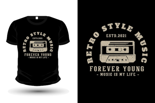 Retro style music typography t-shirt design with cassette
