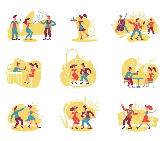 레트로 스타일 파티 2d. 성인을위한 구식 엔터테인먼트. 빈티지 여자와 남자 만화 배경에 평면 캐릭터를 춤. 인쇄 가능한 패치, 다채로운 웹 요소