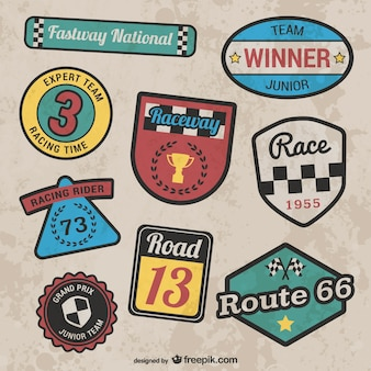 Retro style racing stickers