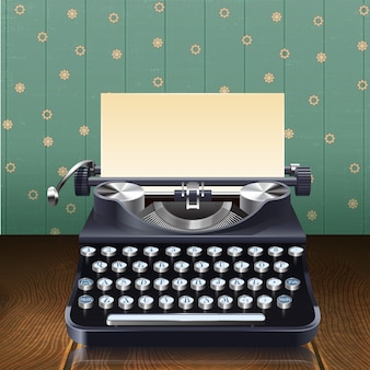 Retro style realistic typewriter