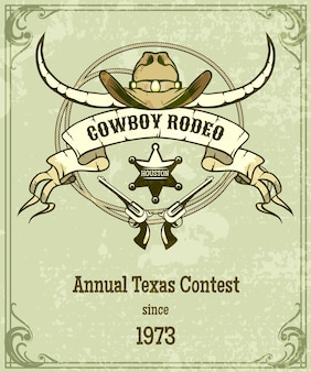 Retro style rodeo poster. american style design, banner with rope and ribbon and longhorn.