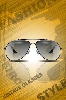 レトロスタイルのヴィンテージの背景に反射と太陽の眼鏡。現実的なイメージは、ポスターや雑誌のテンプレートに適しています。