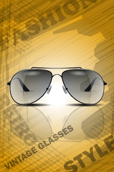 Retro style sun glasses with reflection on vintage background. realistic image good for poster or magazine template.