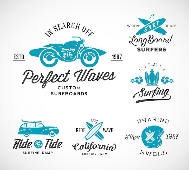 Retro style surfing logos featuring surfboards, surf woodie car, motorcycle silhouette, helmet.